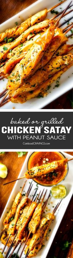 BAKED OR GRILLED easy Thai Chicken Satay with Peanut Sauce is one of my absolute favorite recipes with the most addicting Peanut Sauce ever! I made this twice in one week and I still want more! It not only makes an amazing holiday appetizer but add some v Thai Chicken Satay, Thai Grilled Chicken, Barbecue Chicken, Chicken Curry, Baked Chicken, Appetizer Recipes, Dinner Recipes, Beef Appetizers, Holiday Appetizers
