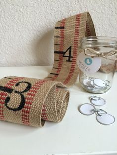 Fabric Growth Chart: Jute/Burlap Red with hand by TheWhiteLoft