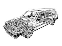 1982-88 Volvo 760 GLE Kombi (US specs) - likely illustrated by Terry Davey