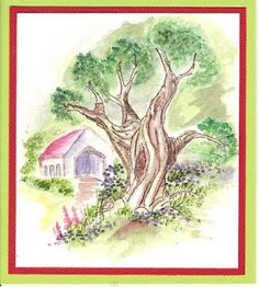 WC Oak Tree (T2417) card by Mary Witter Art Impressions stamps for water color with book tutorials