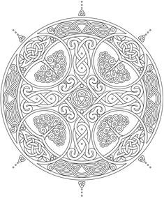 Celtic cross mandala with trees and hearts welcome to dover publications Adult Coloring Pages, Pattern Coloring Pages, Coloring Books, Celtic Mandala, Celtic Art, Mandala Art, Celtic Crosses, Arte Viking, Viking Art