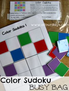 Color Sudoku Busy Bag (Activity Bag) Day 12 of 31 Days of Busy Bags & Quiet Time Activities @ AllOurDays.com #freeprintable