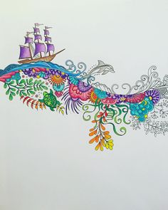 """#lostocean #johannabasford #adultcolouringbook #prismacolor"""