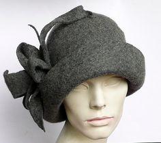 Grey Felted Hat felt hat Cloche Hat Fapper 1920 Hat Art  Gray Hat Cloche…