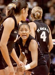DENNIS ODA / DODA@STARBULLETIN.COM  Hawaii defensive specialist Hedder Ilustre left Cal State Northridge in search of better camaraderie. She says when the Wahine start to drag, she likes to talk, as she did when she congratulated Lily Kahumoku, to get them going again.