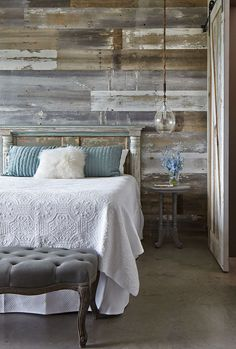 """YES. YES. YES. THIS WALL! Love the headboard, but perhaps a tad bigger and painted with hints of sage green as to pop against the wall. Love the white linen, perhaps layer it with an offwhite chunky cable knit blanket...and we'll have to work on the pillows, nightstand and light. 