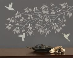 I love how the branches were used with the hummingbirds to create a complete scene    http://www.oliveleafstencils.com/index.php?route=product/product&product_id=2