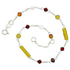 Amazon.com: Sterling Silver Anklet Natural Citrine Beads Brown Pearls Orange Bicone Crystals, adjustable 9 - 10 inch: Sterling Silver Ankle Bracelets: Jewelry