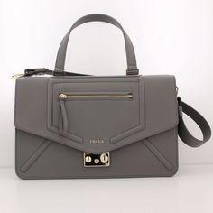 Bag FURLA ALICE Satchel Handbag Leather Mist Gray SPECIAL OFFER - 757164 -M-INFA #Furla #Satchel