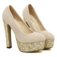Party Sequins and Chunky Heel Pumps