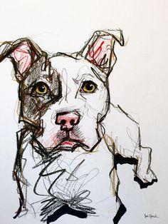 Pit bull pet portrait sketch