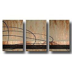 @Overstock - This abstract, hand-painted canvas art transforms your room into a mini gallery with its impressively large dimensions. Featuring bright, copper coloring accented by green and beige, it adds a contemporary flair you can display with pride.http://www.overstock.com/Home-Garden/Cashmere-and-Copper-Canvas-Art/3644815/product.html?CID=214117 $139.99