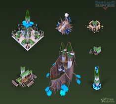 This is set of buildings for Wild Elves race I did for the game Driftland: The Magic Revival for Star Drifters company. The geometry is used in the game.