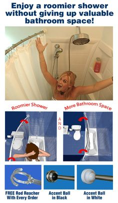 Expand your bathroom space with the Rotator Rod rotating, curved shower curtain rod! The easy installation gives you a roomier shower and then rotate it into the shower for a roomier bathroom!