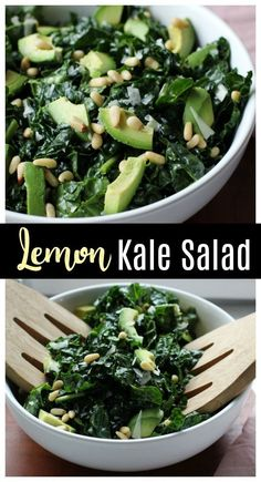 This lemon kale salad has a simple, tangy dressing that pairs perfectly with creamy avocado and salty pine nuts! This lemon kale salad has a simple, tangy dressing that pairs perfectly with creamy avocado and salty pine nuts! Carrot Salad Recipes, Kale Recipes, Chicken Salad Recipes, Healthy Salad Recipes, Vegetarian Recipes, Lemon Recipes, Pistachio Recipes, Alkaline Recipes, Healthy Chicken