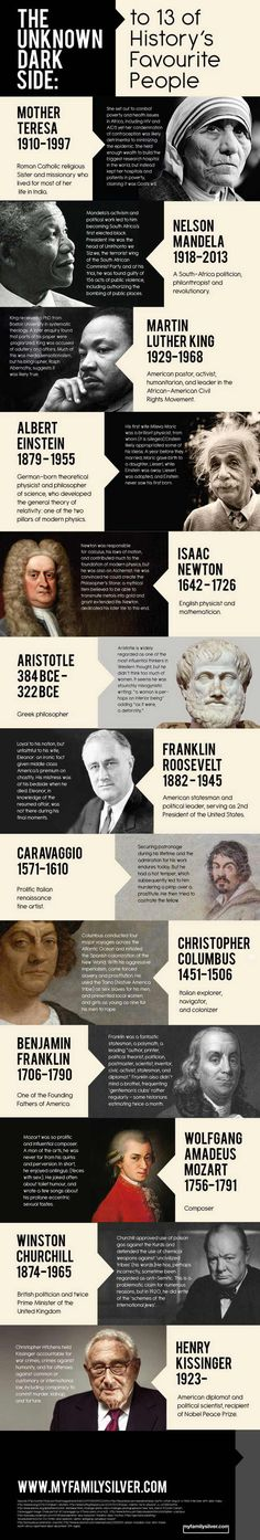 EVERYONE has a dark side: The Darkside of 13 of History's Favourite People Infographic Weird Facts, Fun Facts, Pseudo Science, Historia Universal, Cultura General, Nikola Tesla, Interesting History, History Facts, History Quotes
