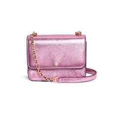 Tory Burch Mini crinkled metallic leather crossbody bag ($370) ❤ liked on Polyvore featuring bags, handbags, shoulder bags, pink, mini crossbody purse, cross-body handbag, leather purses, leather crossbody and over the shoulder bags