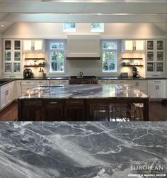 This stunning 'Blue de Savoie' marble countertop is the focal point of this…