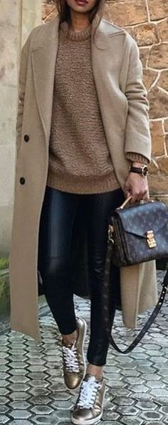 #winter #outfits brown 2-button coat