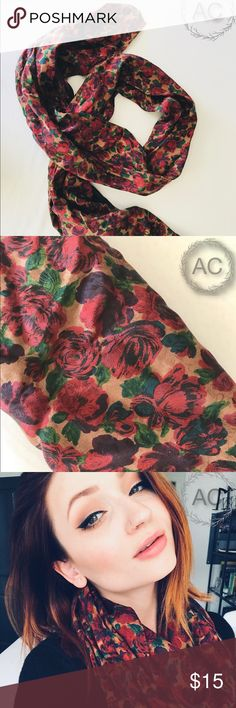 Silk Floral Scarf Not infinity. Bought while visiting China. Genuine silk. Never used. Accessories Scarves & Wraps