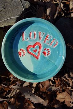 Dog Bowl with Paw Prints Handmade Pottery by by Bigdogpots on Etsy, $28.50