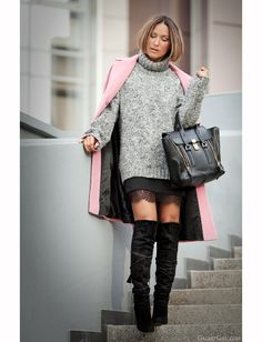 3.1 Phillip Lim pashli and over the knee boots with lace skirt on GalantGirl.com