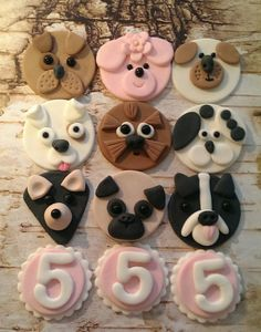 Fondant Puppies  Dog Fondant Cupcake, Cake, Cookie Toppers. Set includes 12 (one…