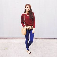 Prepare for the cold gloomy weather in this colorful look and perk up your mood! Show us your look of the day by tagging us on Instagram and using #megLOTD. You might get featured on MegStreetWear.ph! #streetstyle #megstreetwear #OOTD #LOTD #style #fashion #streetstyle #instafashion #leopard #print #sweater #top #denim #jeans #ribbons #sling #bag #gold #chains #blue #black #igersmanila #pilipinasootd Photo from @sophiemos