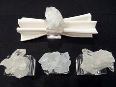 Set of 4 Large Hand-Crafted White Quartz Crystal Napkin Rings
