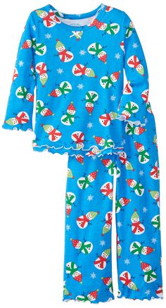 Sara's Prints Little Girls'  Ruffle Top and Pant, Chilly Snowmen Blue, 6.  #clothe