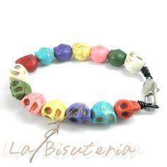 Pulsera Abalorios con calavera de colores de moda