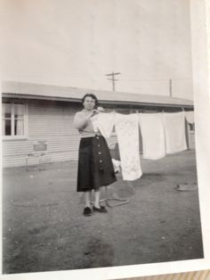 "In Finsbury Migrant Hostel Adelaide South Australia. Mum hanging out her ""big girl undies"" Adelaide South Australia, It's Monday, Hostel, Hanging Out, Free Printables, Laundry, Normcore, Writing, History"