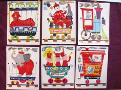 Vintage CHILDS SEWING CARDSCircusSet of 6 by dirtybirdiesvintage