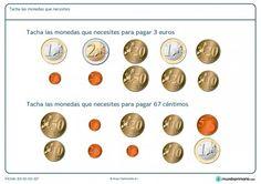 Ficha de seleccionar monedas necesarias para Primaria Learning Spanish, Math Activities, Euro, Coins, Ideas Para, Montessori, To Tell, Paper, Shopping