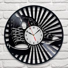 Converse design vinyl record wall clock home art playroom bedroom shop office  | eBay