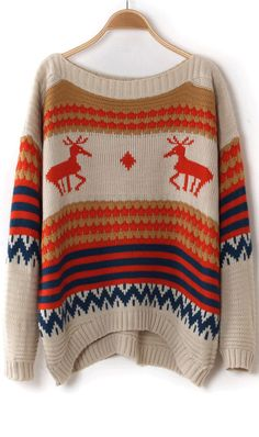 Christmas deer snowflake striped loose sweater apricot