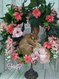 Spring wreath with mommy and baby bunny ..perfect for front door or even a babys room