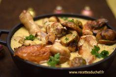 Une recette de volaille pour un repas de fêtes mariant le chapon aux cèpes et au foie gras dans une délicieuse sauce au champagne.