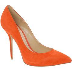 ALDO Fravel (215 RON) ❤ liked on Polyvore featuring shoes, pumps, heels, orange, high heels, peach, patent leather platform pumps, pointed toe platform pumps, high heel platform pumps and orange pumps