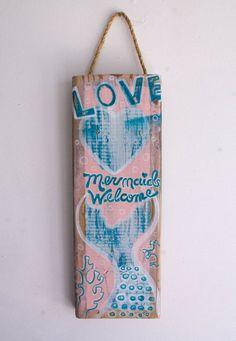 Mermaid Beach Sign Hand Painted on Reclaimed Wood by Christina Rowe #mangoseed #mermaids #mermaidsign