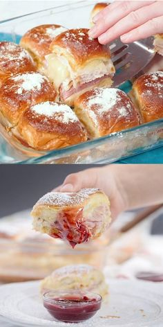 """These Monte Cristo Sliders are everything you love about the classic monte cristo sandwich, in """"mini"""" form. Perfect for parties and gatherings, or just when you want something delicious and a little different from the norm. Monte Cristo Sandwich, Tacos And Burritos, Cooking Recipes, Ham Recipes, Sandwich Recipes, Recipies, Wrap Sandwiches, Breakfast Recipes, Yummy Food"""