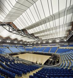 Image 14 of 19 from gallery of Margaret Court Arena Redevelopment / NH Architecture + Populous. Photograph by Peter Bennetts Stadium Architecture, Modern Architecture, University Of San Francisco, Roof Structure, High Rise Building, Roof Design, Gallery, Samosa Recipe, Public Spaces