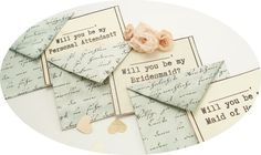 1 Will You Be My Bridesmaid Cute Retro Invitation with Mini Blue/Green Envelopes and Pale Yellow or Gray Note Cards by TheRecycledRuffle, $3.20. (32 available).