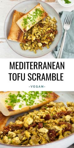 Recipe for vegan & gluten-free Mediterranean Tofu Scramble with sun-dried tomatoes and olives. Low Carb Dinner Recipes, Vegetarian Recipes Dinner, Tofu Recipes, Vegan Breakfast Recipes, Healthy Dinner Recipes, Appetizer Recipes, Free Recipes, Tofu Breakfast, Healthy Breakfasts