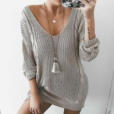 V-neck Cable Knit Loose Women Pullover Oversized Sweater Dress – 2019 - Sweaters ideas Long Sleeve Sweater Dress, Knit Dress, Pullover Mode, Long Sweaters For Women, Sweater Fashion, Types Of Fashion Styles, Pulls, Look Fashion, Dress Fashion