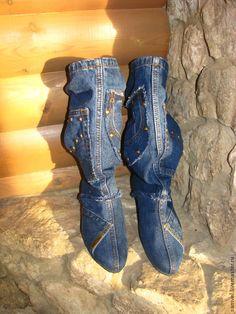 Купить Джинсовые полусапоги - джинсовый стиль, джинс, стиль прованс, стиль кантри, демисезонная обувь
