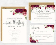 Floral Wedding Invitation Printable Wedding Invitation Suite Rustic Wedding Invite Boho Wedding Invite Peonies Wedding Boho III Sangria