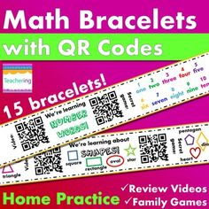Math bracelets with QR codes for Kindergarten & Preschool Math homework and remediation! Great for strengthening the connection and communication between school and home and empowering parents to help their children master new skills at home! This bundle of paper bands has 15 bracelets about Kindergarten Math topics.