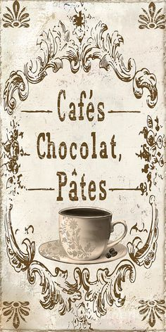 Vintage Paris Cafe Sign Print by Mindy Sommers