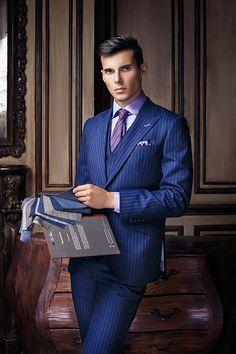 Pin Stripe 3 Piece Blue Suit